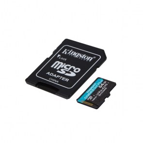 KINGSTON Memory Card MicroSD Canvas Go! Plus SDCG3/64GB, Class 10, SD Adapter